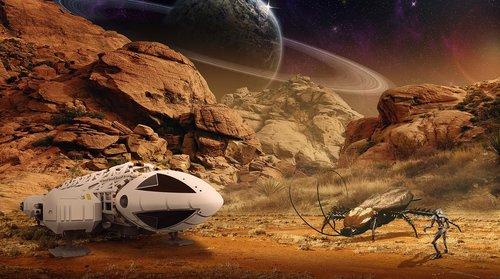 spaceship  robot  alien