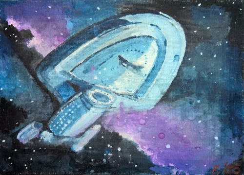 spaceship voyager acrylic on canvas enterprise