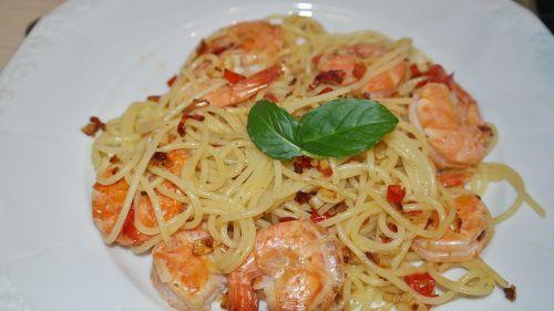 spaghetti scampi shrimp