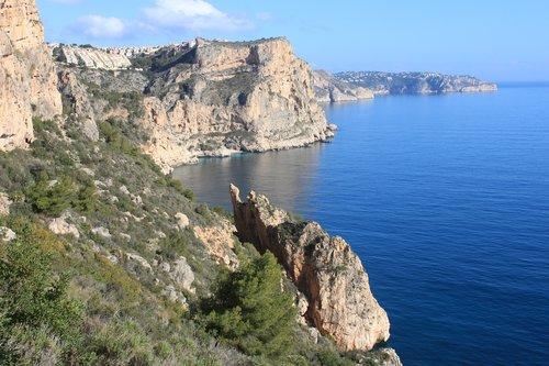 spain  rocky coast  mediterranean