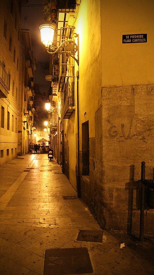 spain  valencia  at night