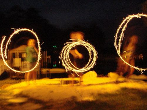 sparklers fire circles july 4th