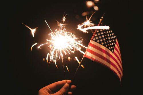 sparklers american flag