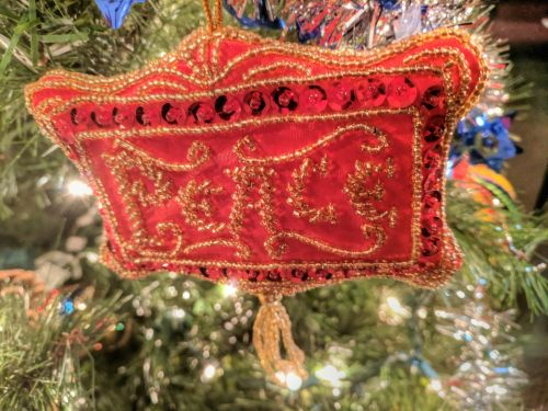 Sparkling Red Square Ornament