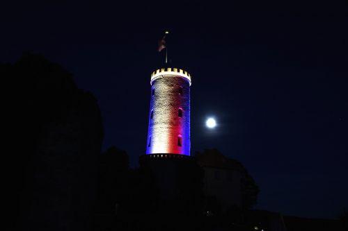 Sparenburgas,Bielefeld,bokštas,naktis,istoriškai,lankytinos vietos,pastatas,Vokietija,Europa,bokštai,französich,akmuo,pilis,tvirtovė,Viduramžiai,gynyba,apšviestas,senas