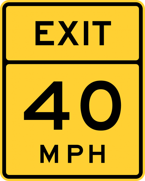 speed sign exit