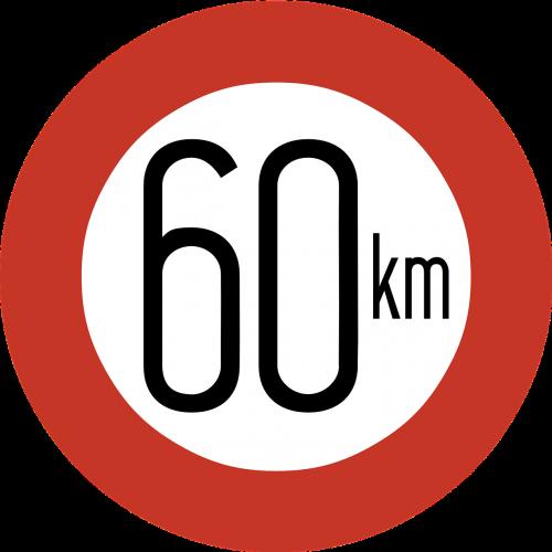 speed limit sign 60 km