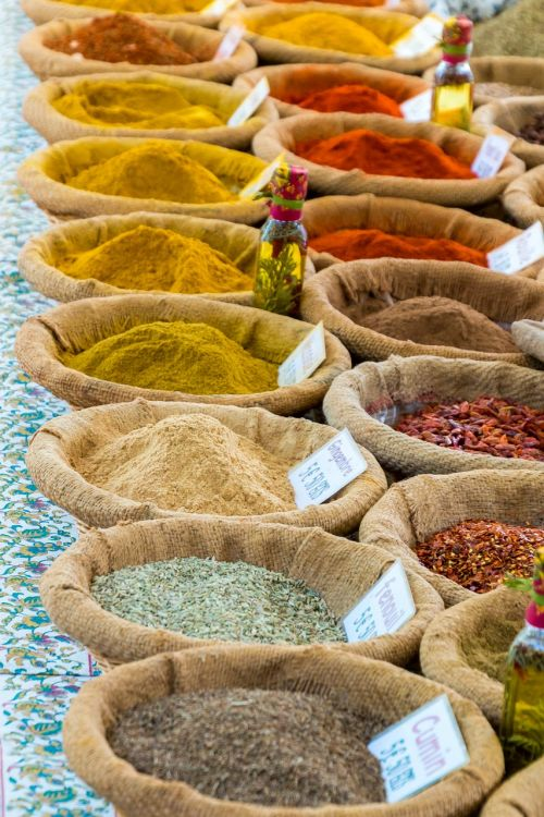 spices curry market stall