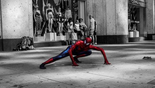 spiderman  held  street artists