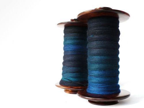 spinning wool blue