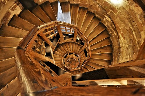 spiral staircase  wood  emergence