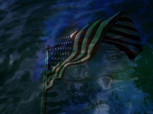 flag usa reflection water
