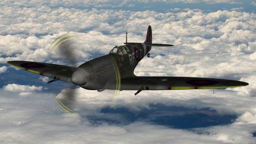 spitfire flying cloudy flight
