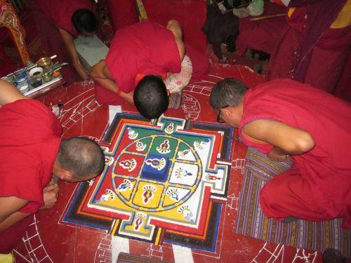 spituk monastery mandala preparation painting