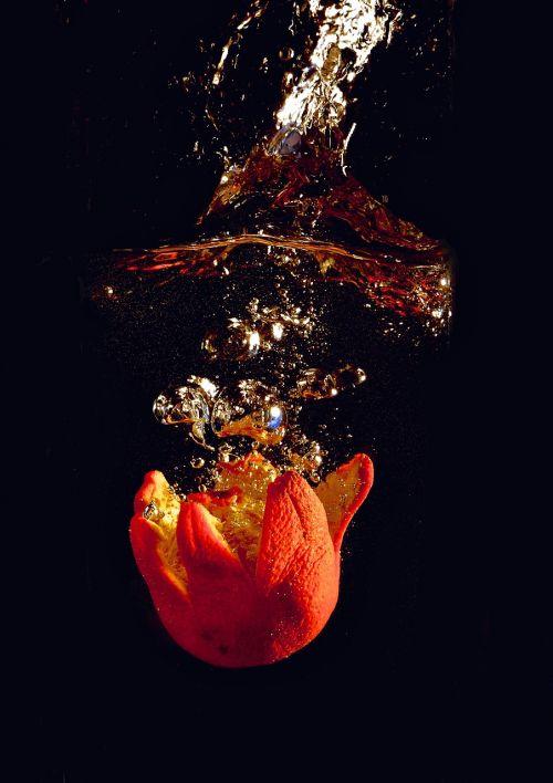 splash orange water