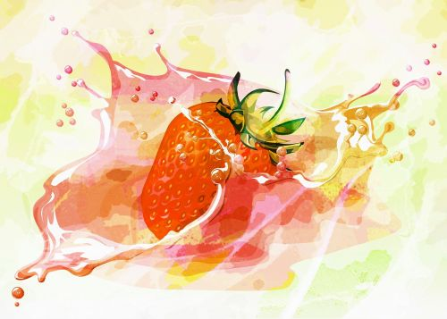 splashing strawberry graphic