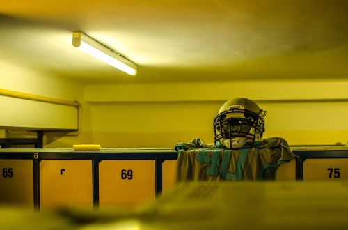sport changing room american football