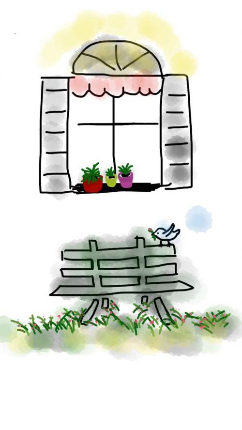 spring bird window
