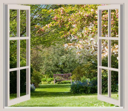Spring Garden Window Frame View