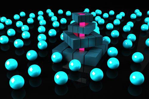 square balls 3d illuminated