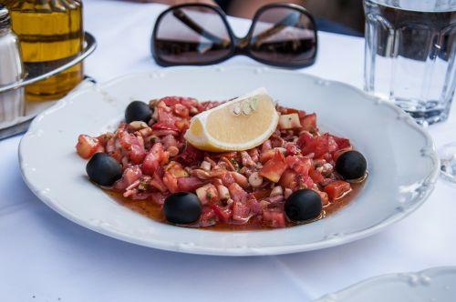 squid salad seafood eat