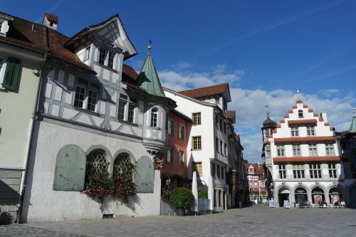 st gallen old town timber framed houses