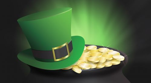 st patrick's day top hat pot of gold
