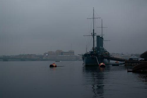 st petersburg russia neva fog