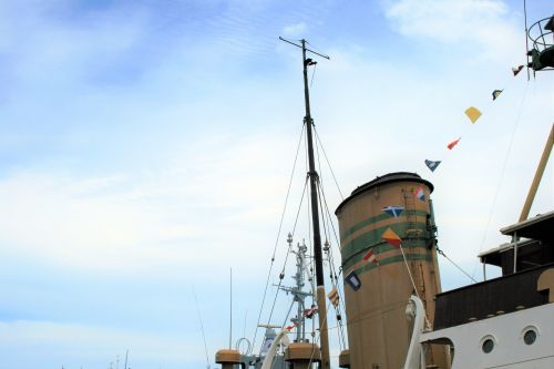 Stack And Masts Of Old Tug Boat