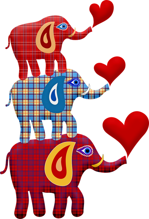stacked elephant  elephant toy  plaid elephant