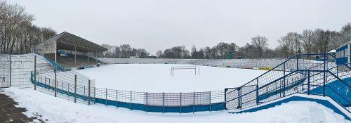 stadium football pitch snow