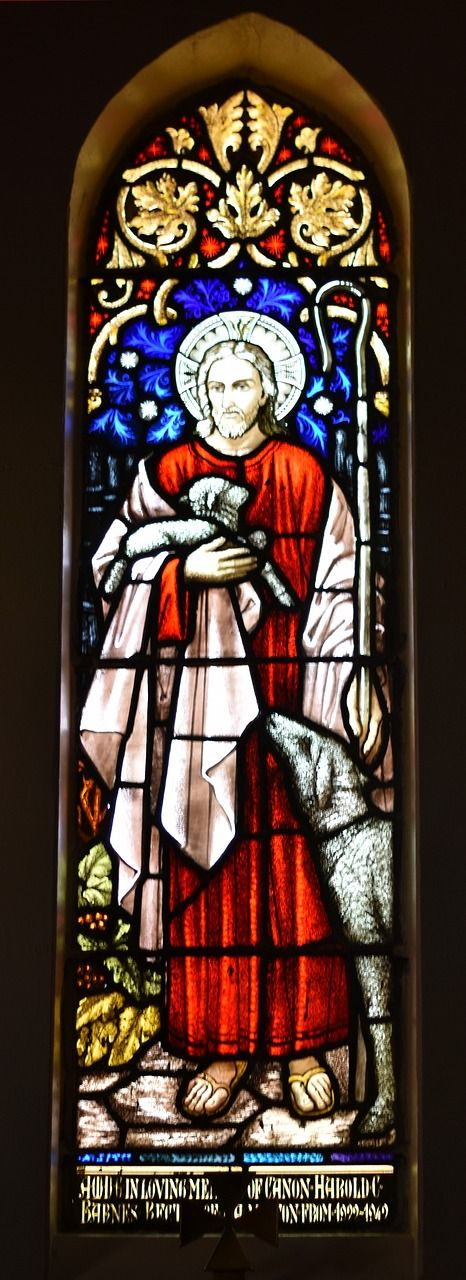 stained glass window good shepherd