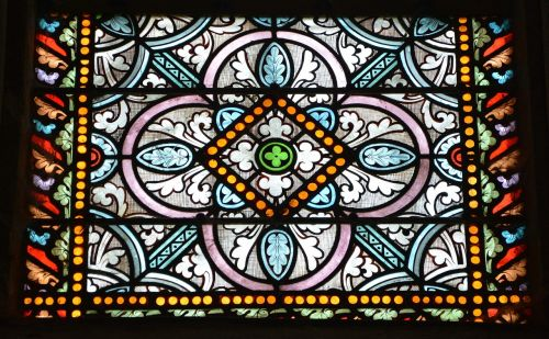 stained glass composition of glass colored