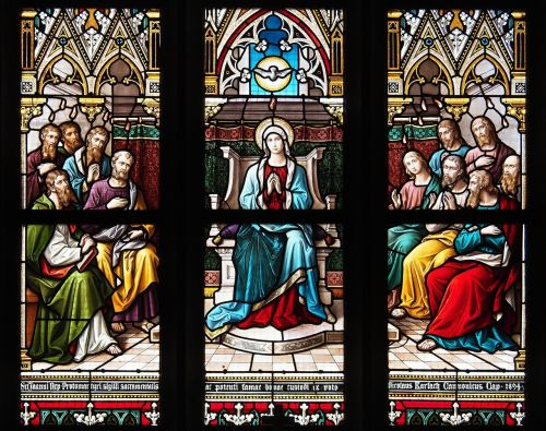 stained-glass windows pentecost the virgin mary