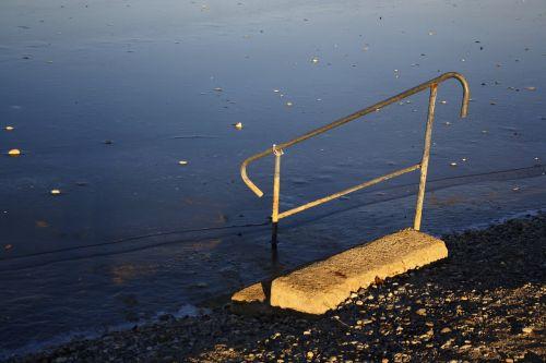 staircase boarding ladder lake