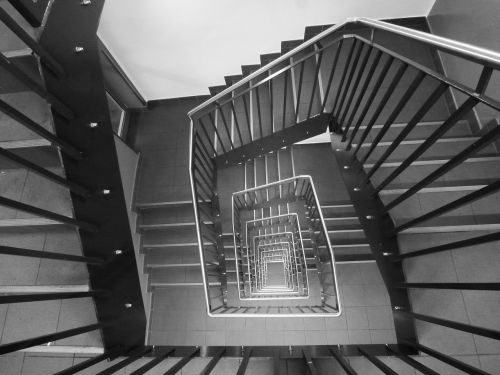 staircase black and white stairs