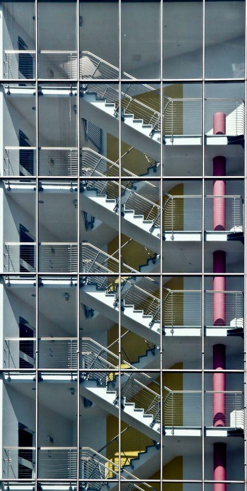 laiptinė,Diuseldorfas,simetrija,harmonija,langas,priekinis langas,fasadas,darbo pasaulis,pastatas,architektūra,laiptai,biuras,namai