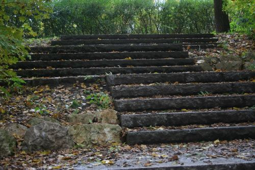 stairs leaves autumn