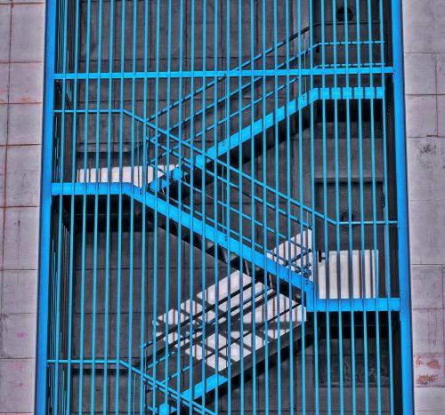 stairs shadows blue