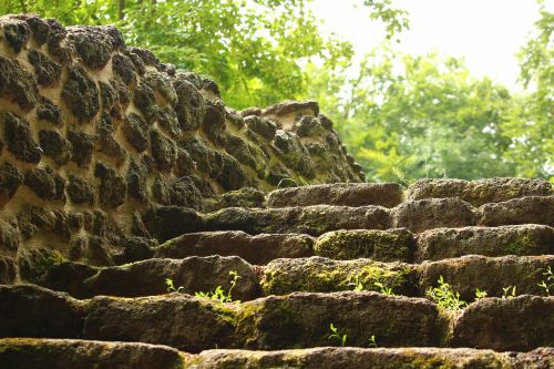 stairs ruin wall
