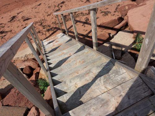 stairs beach ocean