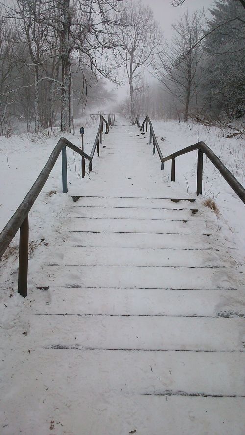 stairs snowy winter