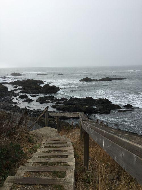 stairs ocean rails
