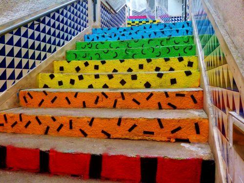 stairs colorful gradually