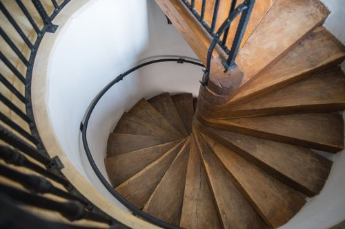 stairs wood spiral