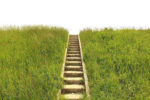 stairs  grass  gradually