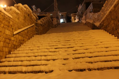 stairs snow heaven
