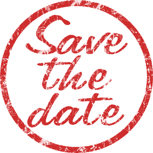 stamp save the date red