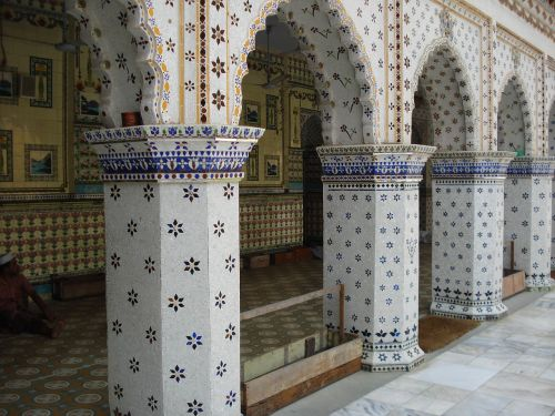 star mosque motifs of blue stars build by mirza golam pir