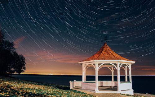 star trails milky way pavilion